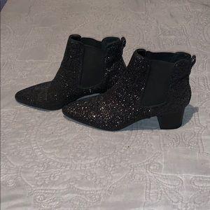 Black Glitter Chelsea Boots
